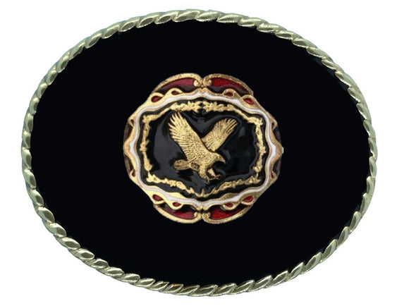 Eagle Head Black Belt Buckle