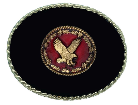 Flying Eagle Red Black Belt Buckle