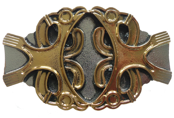 Celtic Two Birds Gold Silver Belt Buckle