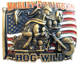 Harley Davidson Hog Wild Gold Belt Buckle