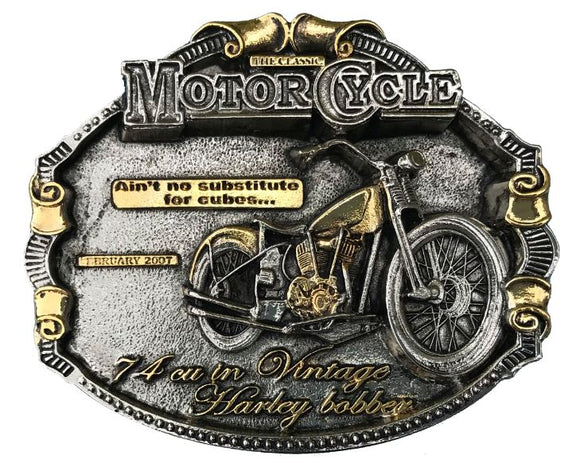 Harley Bobber Gold Belt Buckle
