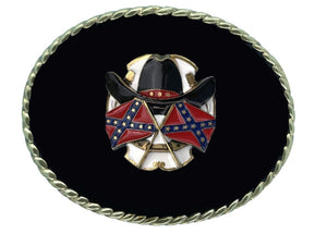 Hat and Flags Black Belt Buckle