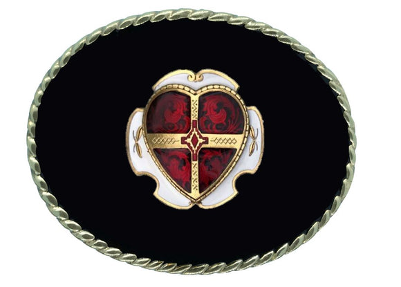 Heart Red Black Belt Buckle