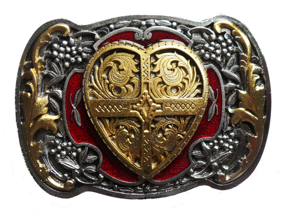 Heart Red Gold Belt Buckle