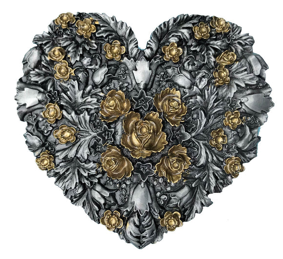 Hearts Flowers Black Gold Belt Buckle