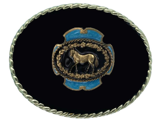 Horse Black Gold Belt Buckle
