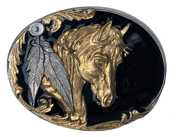 Horse Head Feathers Black Gold Belt Buckle