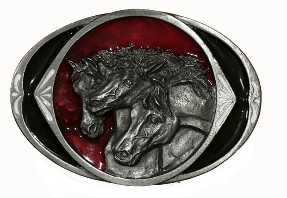 Horse Trio Red Black Belt Buckle