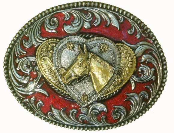 Horse and Heart Red Gold Belt Buckle