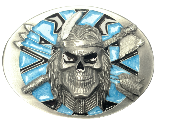 Indian Skull and Arrows Belt Buckle