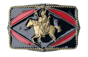 Indian on Horse Black Gold Belt Buckle