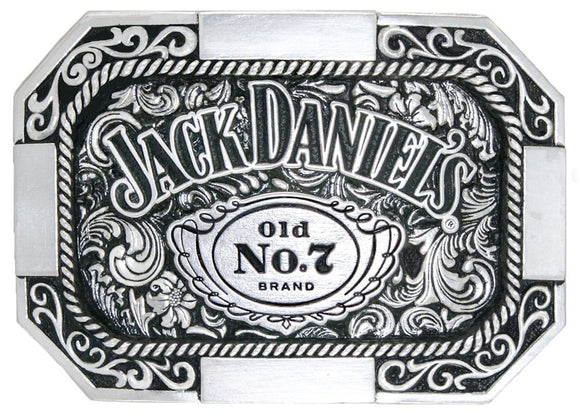 Jack Daniels Silver Plated Old No.7 Octagon Edge Belt Buckle