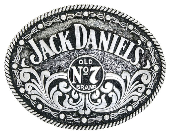 Jack Daniels Silver Plated Oval No.7 Filigree Belt Buckle