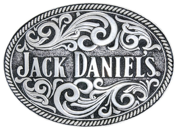 Jack Daniels Silver Plated Rope Edge Belt Buckle