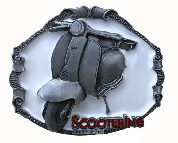 Lambretta Scooter White Belt Buckle