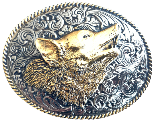 Large Oval Wolf Head Belt Buckle