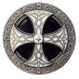 Norse Cross Black White Belt Buckle