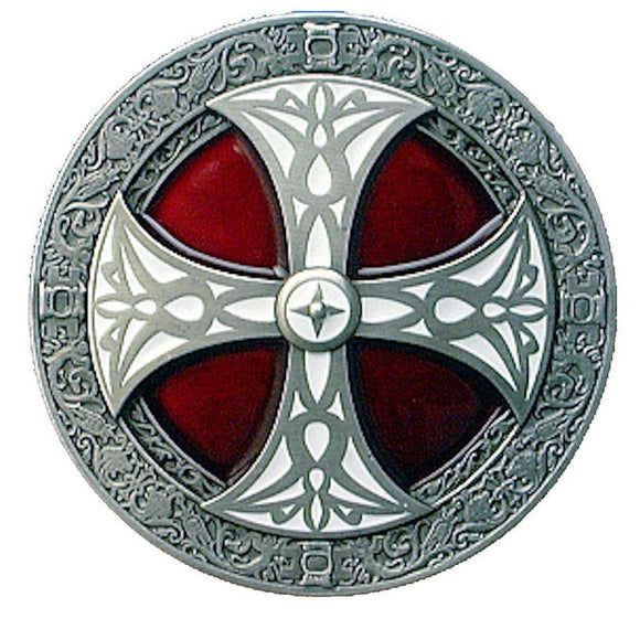 Norse Cross Red White Belt Buckle