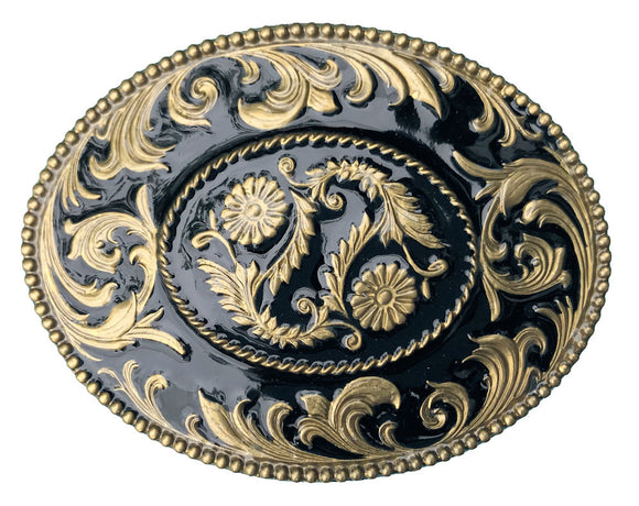 Oval Scrolls Black Gold Belt Buckle