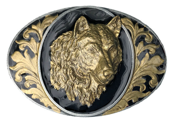 Oval wolf Head Black Gold Belt Buckle