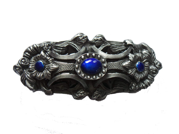 Blue Pagan Flower Belt Buckle