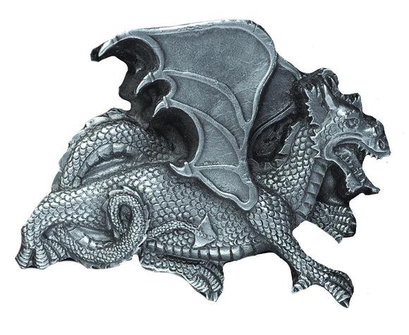 Dragon Uncoloured Pewter Belt Buckle