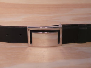 "1 3/8"" Inch Polished Silver Rectangle Buckle"