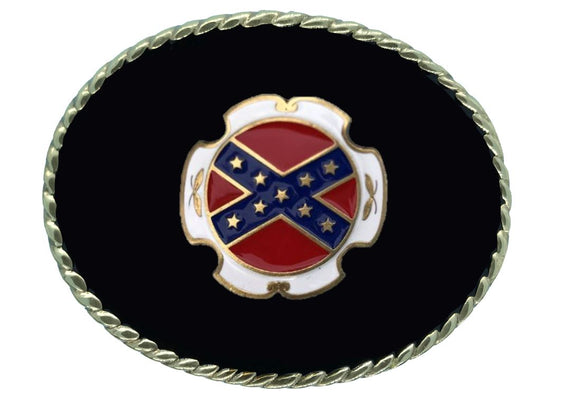 Rebel Flag Black Gold Belt Buckle