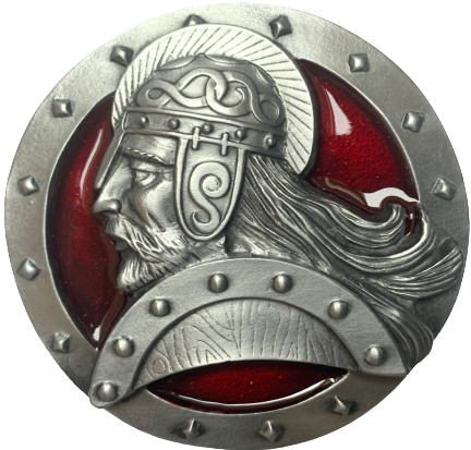 Red Viking Head Belt Buckle