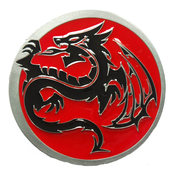 Red Black Tribal Dragon Belt Buckle