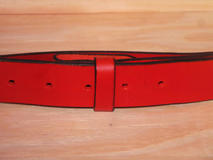 "2"" Inch Red Leather Belt Strap"