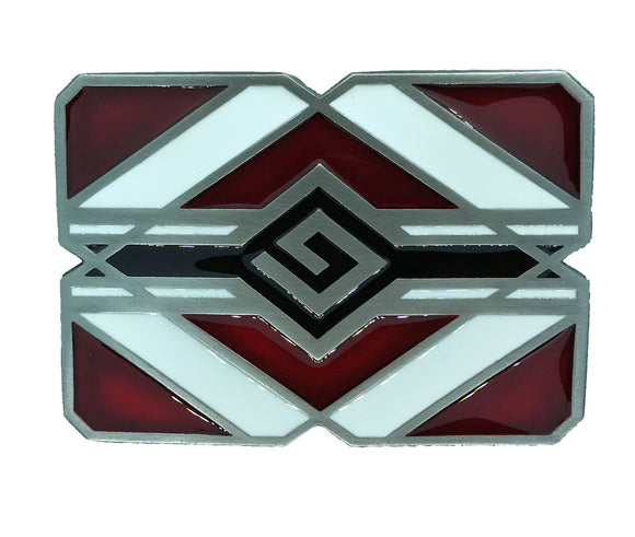 Red and White Indian Belt Buckle