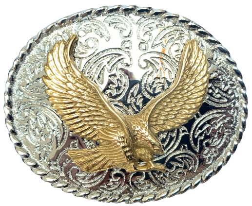 Rodeo Brass Eagle Silver Oval Belt Buckle