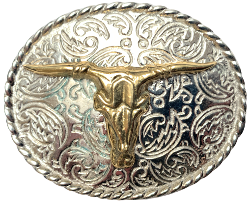 Rodeo Brass Steer Silver Oval Belt Buckle
