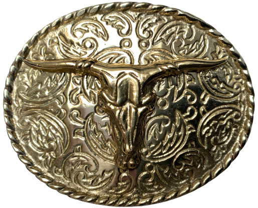 Rodeo Steer Full Brass Belt Buckle