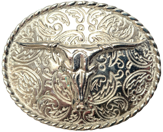 Rodeo Steer Full Silver Belt Buckle