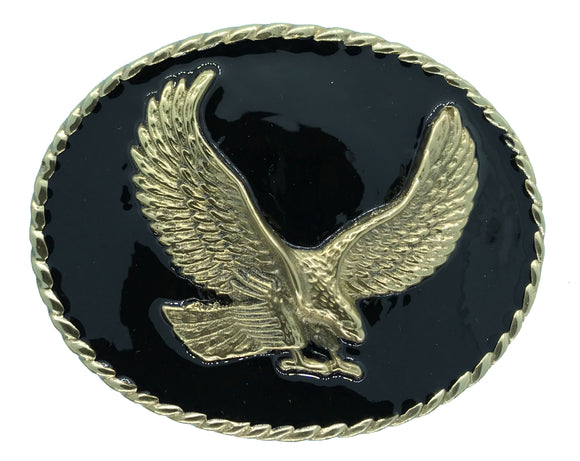 Rodeo Eagle Black Gold Belt Buckle