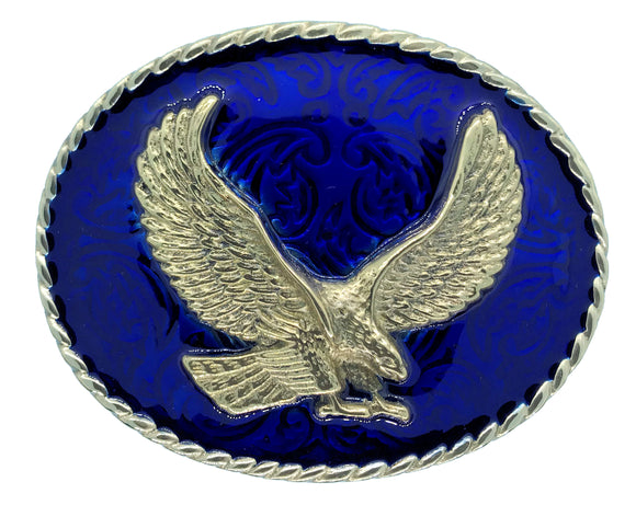 Rodeo Eagle Blue Gold Belt Buckle