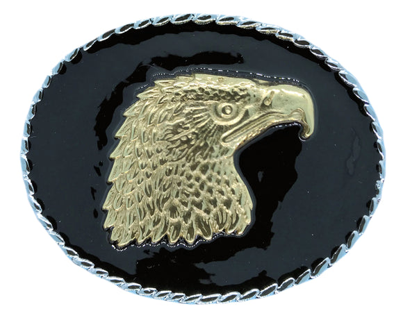 Rodeo Eagle Head Black Gold Belt Buckle