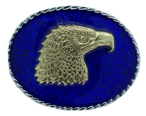Rodeo Eagle Head Blue Gold Belt Buckle