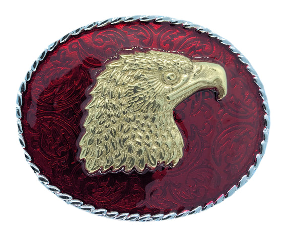 Rodeo Eagle Head Red Gold Belt Buckle