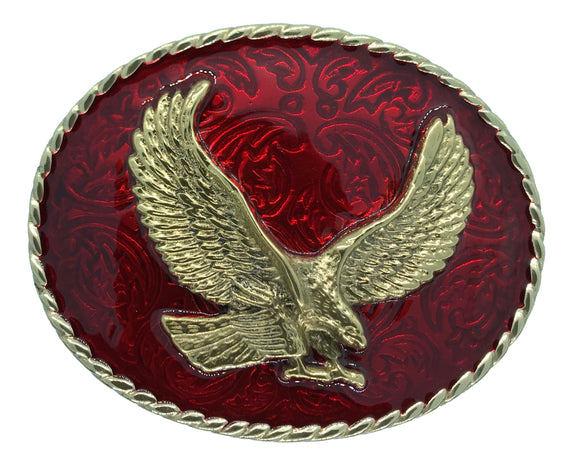 Rodeo Eagle Red Gold Belt Buckle