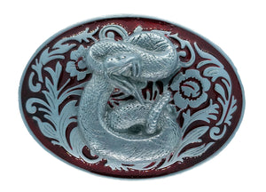 Rodeo Rattle Snake Red Belt Buckle