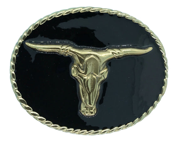 Rodeo Steer Black Gold Belt Buckle