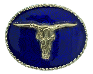 Rodeo Steer Blue Gold Belt Buckle