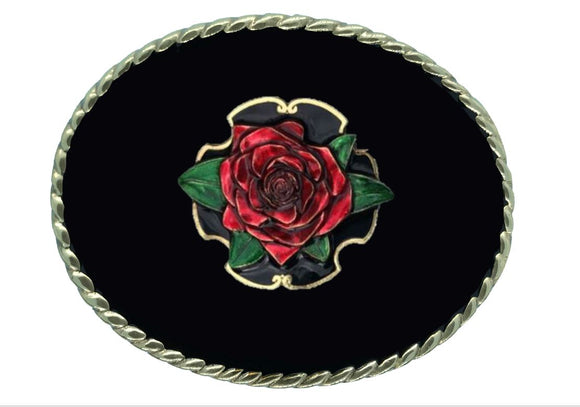 Rose Red Black Belt Buckle