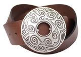 Round Swirl 50mm Leather Belt