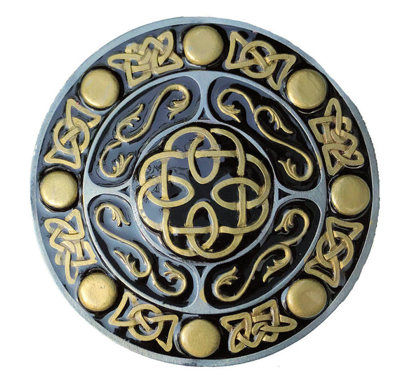 Round Celtic Design Gold Black Belt Buckle