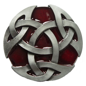 Round Celtic Red Intertwine Belt Buckle