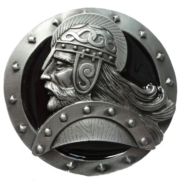 Black Viking Head Belt Buckle
